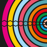 Elements of different colors on a black background. Multi-colored semi-circles and hexagons. Vector Stock Images