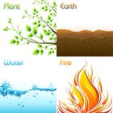 Elements of Earth. Illustration of different elements of earth including plant,earth,water and fire Royalty Free Stock Photo