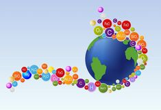 Elements of the Earth. Composition showing some relationships that build the Earth Stock Image