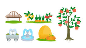 Elements of farm plot, bench for rest, fruit trees, fountains. Stock Images