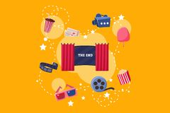 Elements of film industry set, scene, camera, ticket, ice cream, 3d glasses, popcorn vector Illustration on yelllow. Elements of film industry set, scene, camera Royalty Free Stock Photos