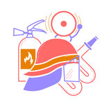 Elements for firemen. Icon from elements for firemen in a linear style Stock Image