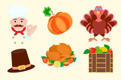 Elements for graphic design for Thanksgiving. Royalty Free Stock Photo