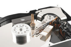 Elements of hard drive with chips Royalty Free Stock Photo