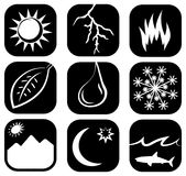 The Elements Icon Set. These icons describe different environmental elements of the earth. They are optimized for print and web use Royalty Free Stock Image