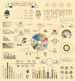 Elements and Icons of Infographics. Hand-Drawn Doodle Design Elements and Icons of Vintage Infographics. Vector Illustration. Pen Drawing Royalty Free Stock Images