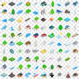 100 elements icons set, isometric 3d style Royalty Free Stock Images