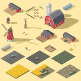 Elements of the infographic of the agrarian industry isometric icon set Royalty Free Stock Photo