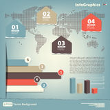 Elements for the infographic on the world map Royalty Free Stock Photos