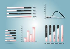 Elements of infographics. Infographics elements.Diagrams in pink colour. Vector illustration. Eps 10 Stock Photography