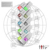 Elements of infographics with a map of the world Stock Image