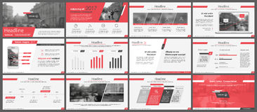 Elements for infographics and presentation templates. Red elements for infographics on a white background. Presentation templates. Use in presentation, flyer Royalty Free Stock Photography