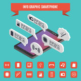 Elements of infographics smartphone isometric, vector illustration. Stock Images