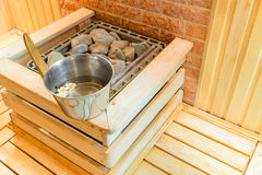 The elements inside the room of sauna Stock Images