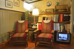 Elements of interior design of the iving room of the Houseboat Museum in Amsterdam. Stock Photos