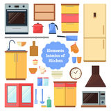 Elements of the interior kitchen. Kitchen furniture of house. Set of elements in a flat style. Elements of the interior kitchen Stock Photo