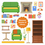 Elements of the interior library or cabinet. Library furniture of house. Set of elements in a flat style. Elements of the interior library or cabinet Stock Photography