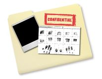 Elements of an Investigation I. Ncluding FIngerprints Photo and Confidential File royalty free stock photo