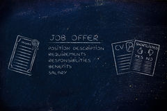 Elements of a job offer next to a degree, cv and shortlist Royalty Free Stock Photos
