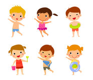 Elements of kids summer holiday Stock Photos