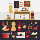 Elements for knitting and sewing. Royalty Free Stock Image