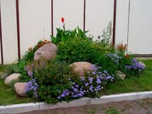 Elements of landscape design. With large stones royalty free stock photography