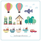 Elements for landscape. Ship, balloon, plane, buildings, trees Stock Image