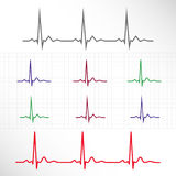Elements and lines of normal ECG Stock Image