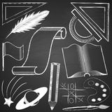 Elements made by hand with chalk on blackboard grange texture. Royalty Free Stock Photo