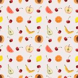 Seamless pattern fruits. The elements are made watercolor. It can be used as a print for textiles, a cookbook, a background for a summer menu, packaging for stock illustration