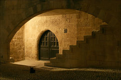 Elements of medieval architecture. Rhodes, Greece. Stock Photos