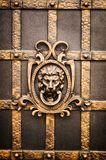Elements of a metal gate with a lion shaped like a head royalty free stock photo