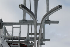 Elements of metal structures ski lift Stock Photo