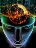 Quickening of Consciousness. Elements of Mind series. 3D illustration of human head and symbols of technology on the subject of  science, education and powers of Stock Images