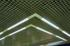 Ceiling construction in a large shopping center stock photo