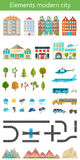Elements of the modern city and nature. Elements of the modern city. Design your own town. Map elements for your pattern, web site or other type of design Royalty Free Stock Photo
