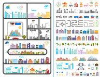 Elements of the modern city - stock. Elements of the modern city. Design your own town. Map elements for your pattern, web site or other type of design. Vector Stock Photo