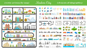 Elements of Modern City - Stock Vector. Elements of modern city. Design your own town. Map elements for your pattern, web site or other type of design Stock Photos