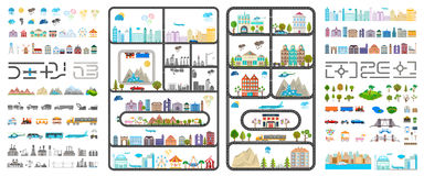 Elements of Modern City - Stock Vector. Elements of modern city. Design your own town. Map elements for your pattern, web site or other type of design Royalty Free Stock Images