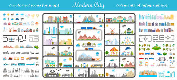 Elements of Modern City - Stock Vector. Elements of modern city. Design your own town. Map elements for your pattern, web site or other type of design Royalty Free Stock Image