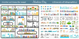 Elements of Modern City - Stock Vector. Elements of modern city. Design your own town. Map elements for your pattern, web site or other type of design Royalty Free Stock Photography