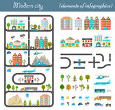 Elements of the modern city in style material design. Elements of the modern city. Design your own town. Map elements for your pattern, web site or other type of Stock Images