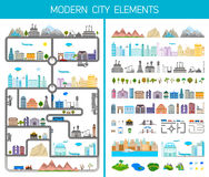 Elements of the modern city or village - stock. Elements of the modern city. Design your own town. Map elements for your pattern, web site or other type of Stock Image