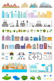 Elements of the modern city and village - stock. Elements of the modern city. Design your own town. Map elements for your pattern, web site or other type of Stock Photography