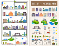 Elements of the modern city or village - stock . Elements of the modern city. Design your own town. Map elements for your pattern, web site or other type of Stock Photos