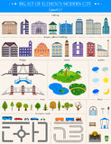 Elements of the modern city on white background - stock . Elements of the modern city. Design your own town. Map elements for your pattern, web site or other Royalty Free Stock Photos