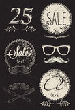 Elements of modern design. Frames, labels stylized inscriptions in chalk on the blackboard, the elements youth design, glasses, mustache Royalty Free Stock Images