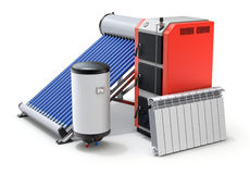 Elements of modern house heating system. Elements of heating system with evacuated solar water heater, boilers and radiator - 3D illustration Royalty Free Stock Photo