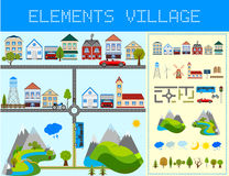 Elements of the Modern Village. Design your own village. Vector illustration Royalty Free Stock Image