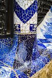 Elements of mosaic fragments Gaudi`s mosaic work in Park Guell In winter in the city of Barcelona. BARCELONA, SPAIN - 13 JANUARY 2018: Elements of mosaic stock photography